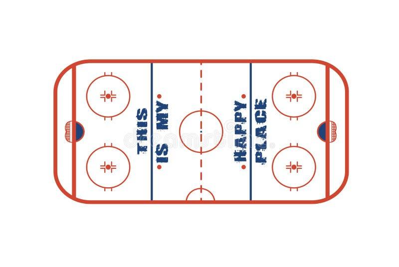 Design för ishockeyfältvektor Detta är mitt lyckliga ställe royaltyfri illustrationer