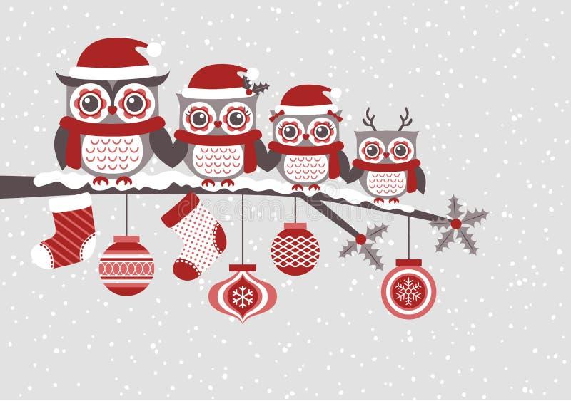 Design för jul för ugglafamiljtecknad film royaltyfri illustrationer