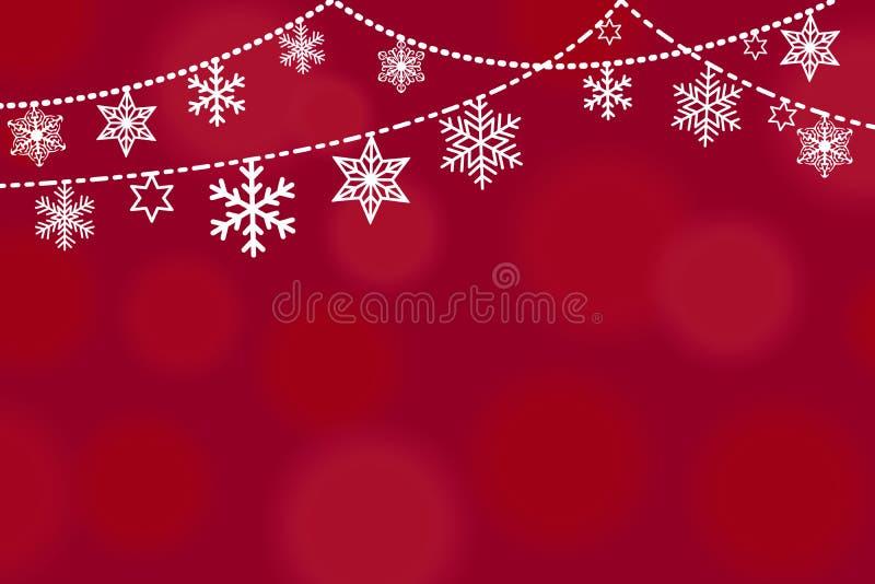 Design för julhälsningkort med gränsen från hängande vita olika snöflingor och stjärnor i enkel plan retro stil på vektor illustrationer