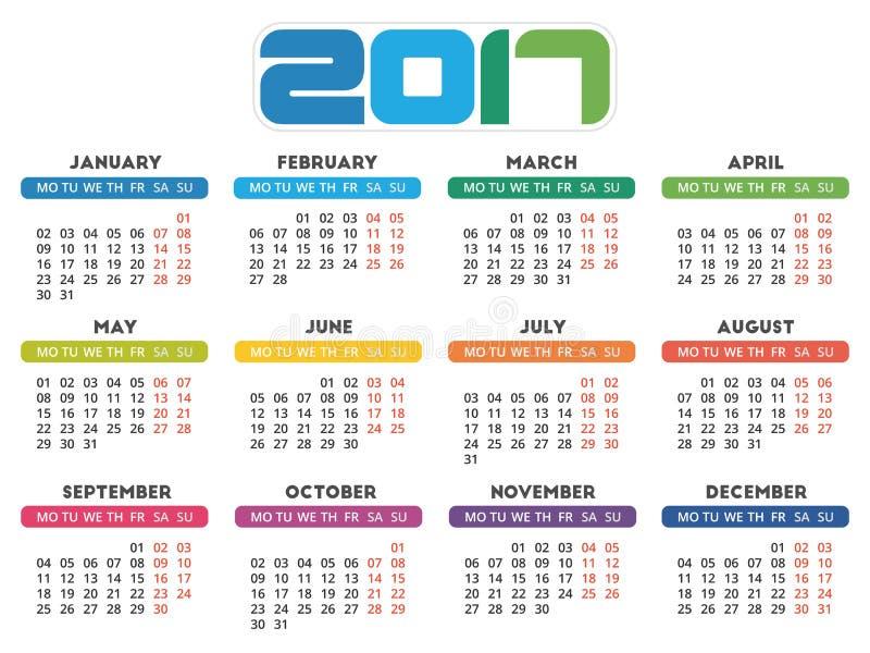Download Design för kalender 2017 vektor illustrationer. Illustration av dagbok - 78729459