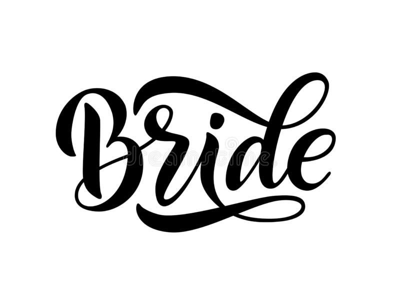 Design för kalligrafi för brudlagord rolig Illustration för bokstävertextvektor för ungmöparti vektor illustrationer