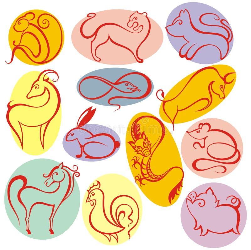 Design för 12 kinesisk zodiaktecken vektor illustrationer