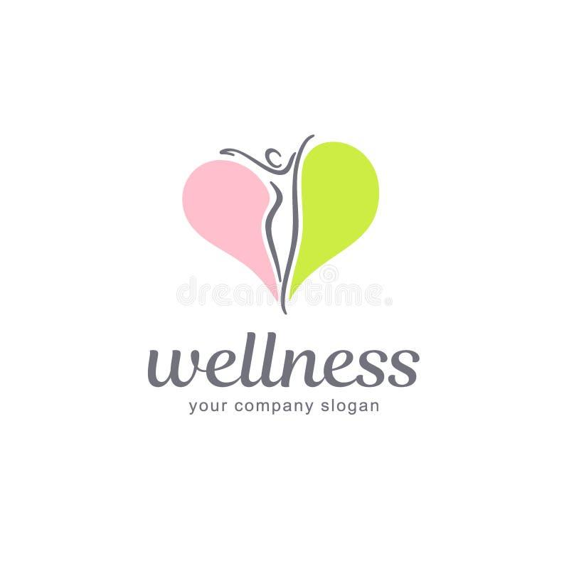 Design för kondition- och wellnessvektorlogo Uppsättning för kroppjämviktslogo stock illustrationer