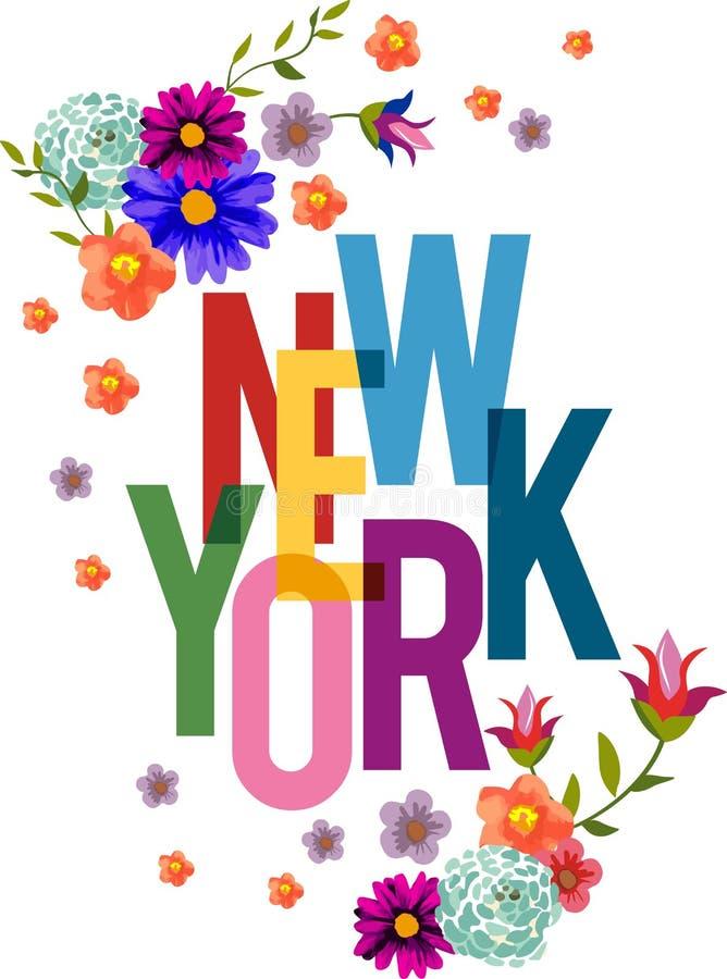 Design för konst för blommaNew York City vektor för t-skjortor och dekorativt arkivbild