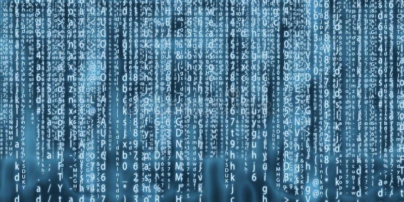 Design för konst för datormatrisbakgrund Siffror på skärmen Grafiska data för abstrakt begrepp, teknologi, decryption, algoritm arkivfoton