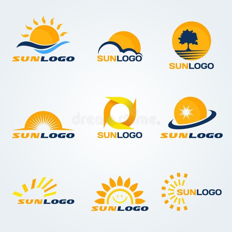 Design för konst för uppsättning för vektor för sollogo (ha träd, moln och vatten till sammansättning) stock illustrationer
