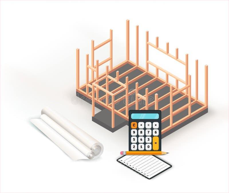 Design för konstruktion för grund för timmerramhus Arkitekturprojektbyggnad, planläggning och beräkningar på pappersrulle royaltyfri illustrationer