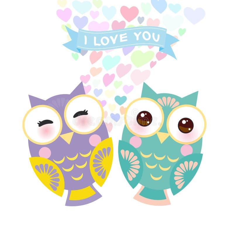 Design för kort för dag för valentin` s med den Kawaii ugglan med rosa färgkinder och blinkaögon, pastellfärgade färger på vit ba vektor illustrationer