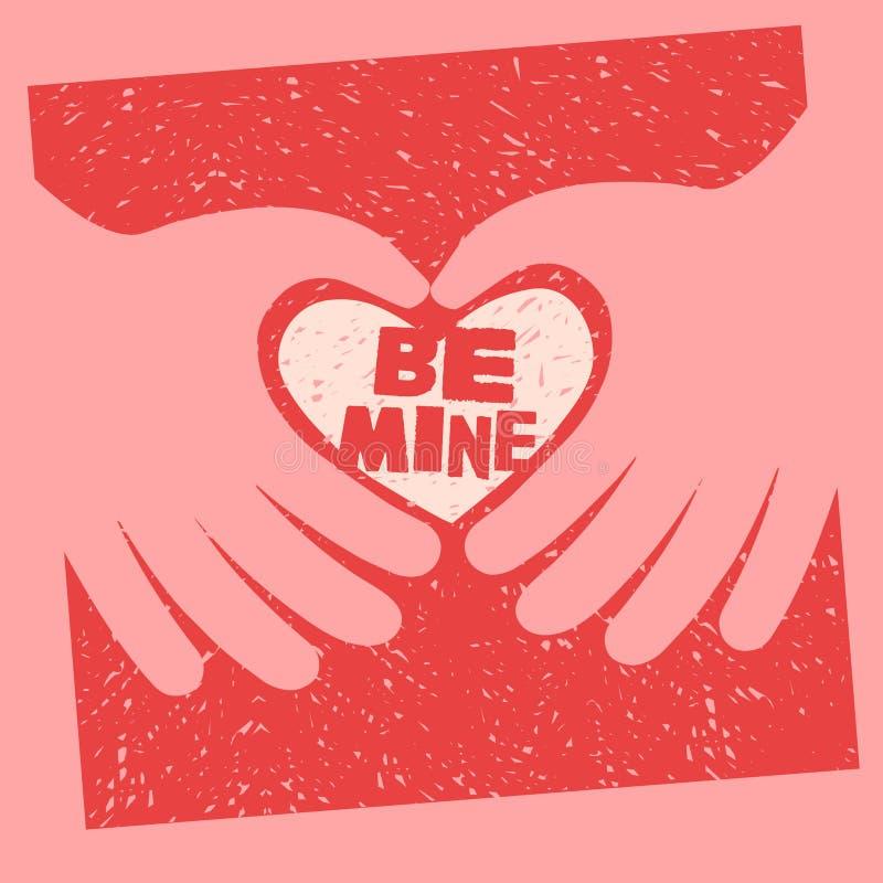 Design för kort för dag för valentin` s 2 händer som gör en hjärta stock illustrationer
