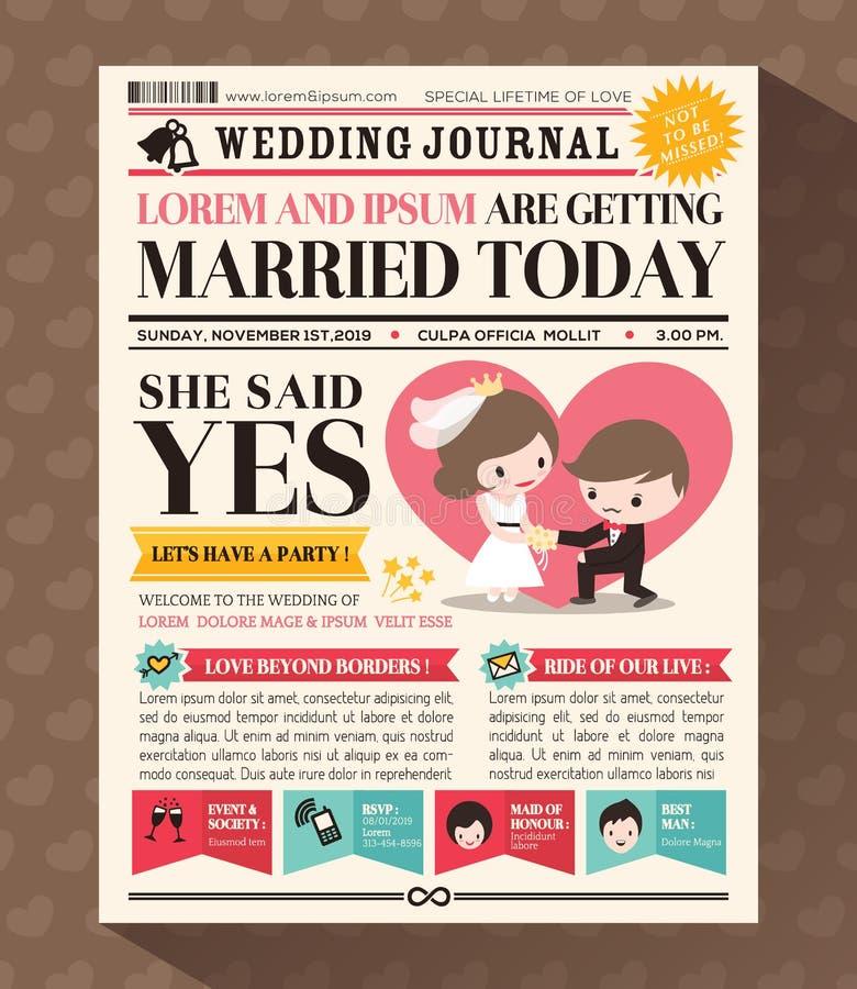 Design för kort för inbjudan för tecknad filmtidningsbröllop stock illustrationer
