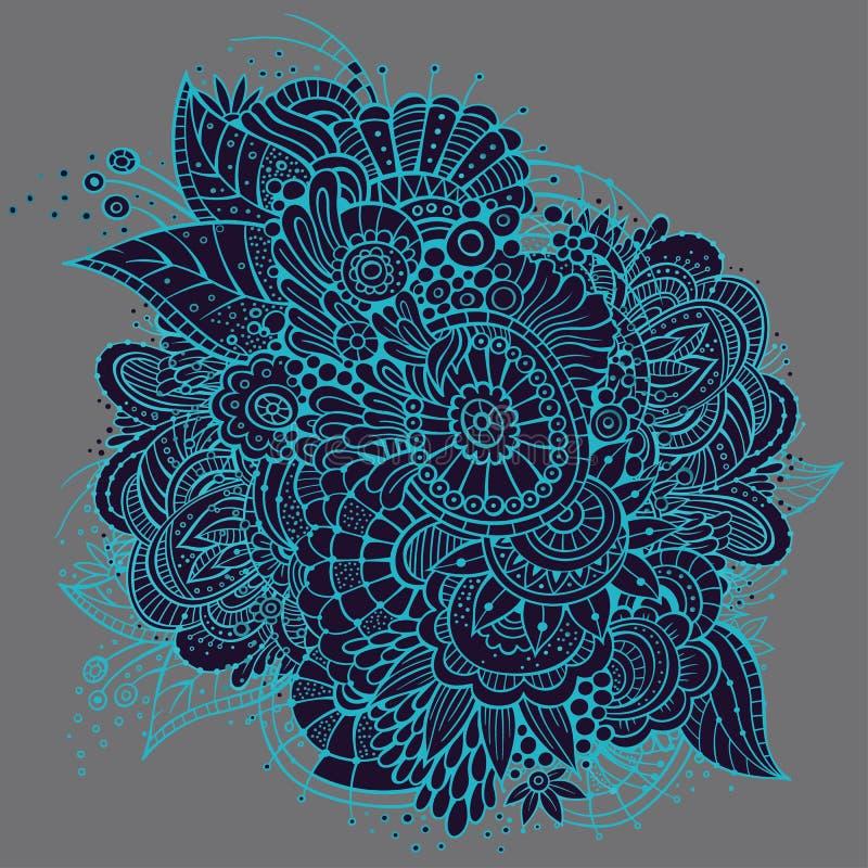 Design för kort för utsmyckat vektorneon blom- royaltyfri illustrationer