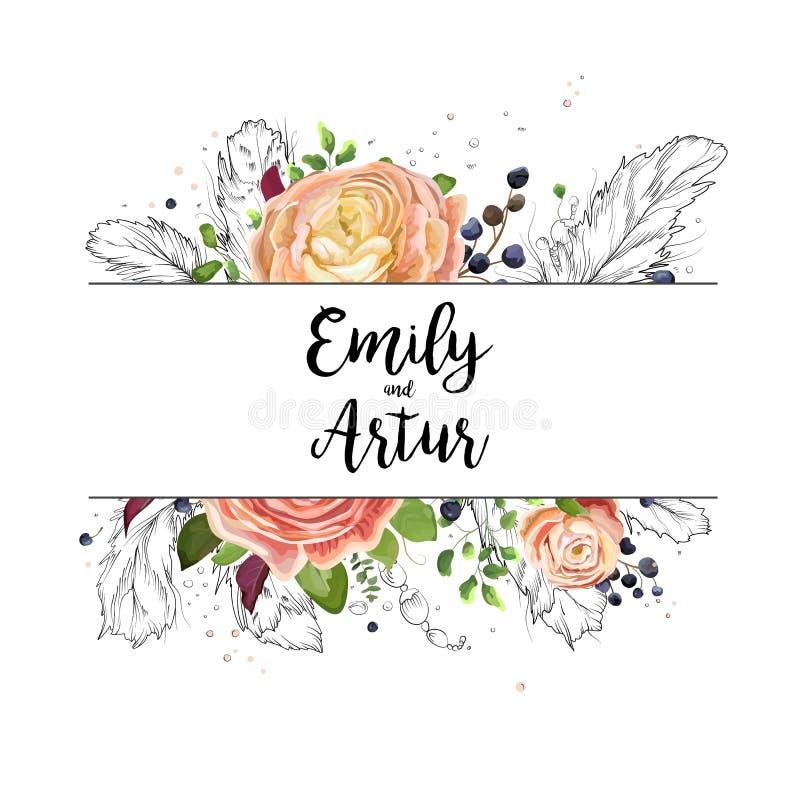 Design för kort för inbjudan för bröllopvattenfärgboho: rosa blom- gard stock illustrationer