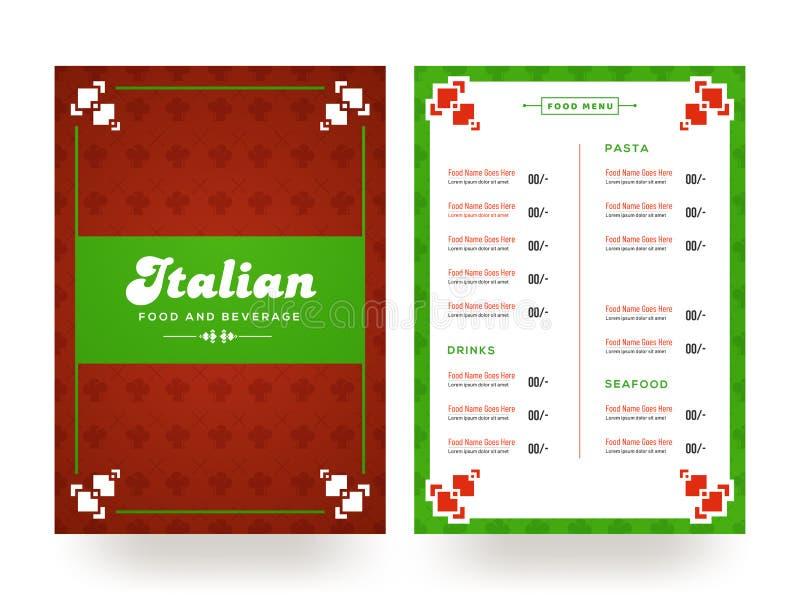 Design för kort för italiensk dryck- och matmeny vektor illustrationer
