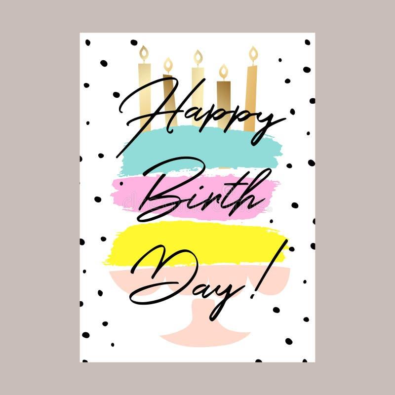 Design för kort för kaka för lycklig födelsedag royaltyfri illustrationer