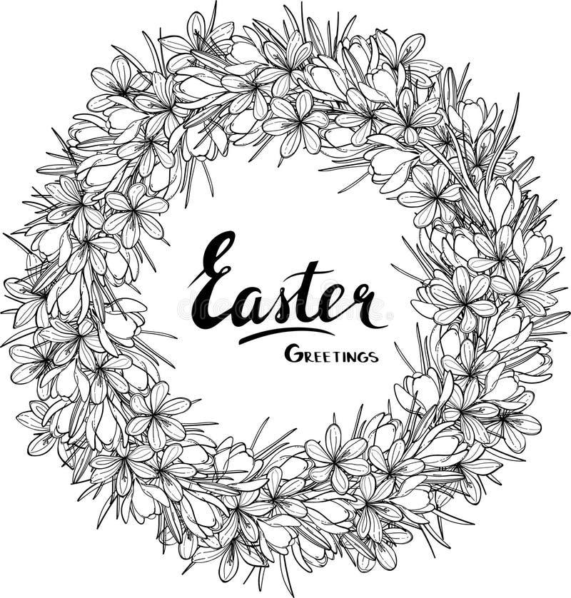 Design för kort för påskvektorhälsning med den blom- kransen vektor illustrationer