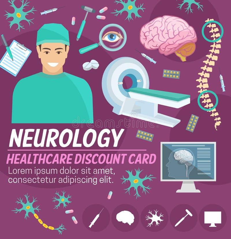 Design för kort för rabatt för neurologimedicinsjukhus stock illustrationer