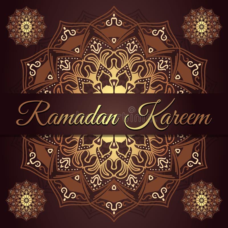Design för kort för Ramadankareemhälsning med röd rödbrun och guld- mandalabakgrund för eps-modell för 10 bakgrund wallpaper för  stock illustrationer
