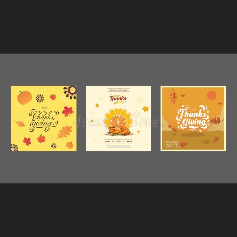 Design för kort för tacksägelsedagräkning stock illustrationer