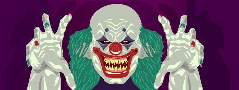 Design för lägenhet för clown för clownHalloween dräkt stock illustrationer
