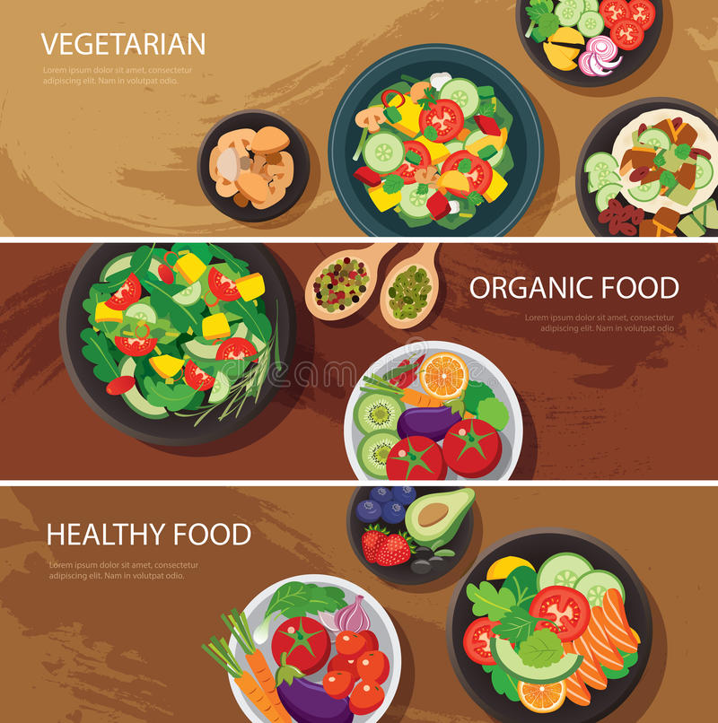 Design för lägenhet för baner för matrengöringsduk vegetarian organisk mat som är sund stock illustrationer