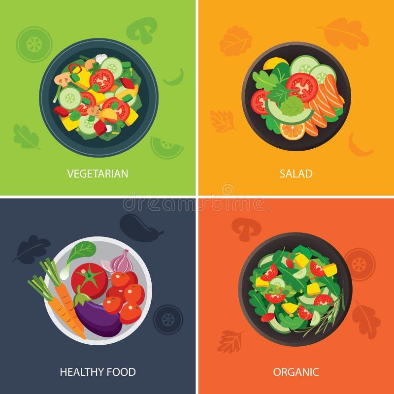 Design för lägenhet för baner för matrengöringsduk vegetarian organisk mat som är sund royaltyfri illustrationer