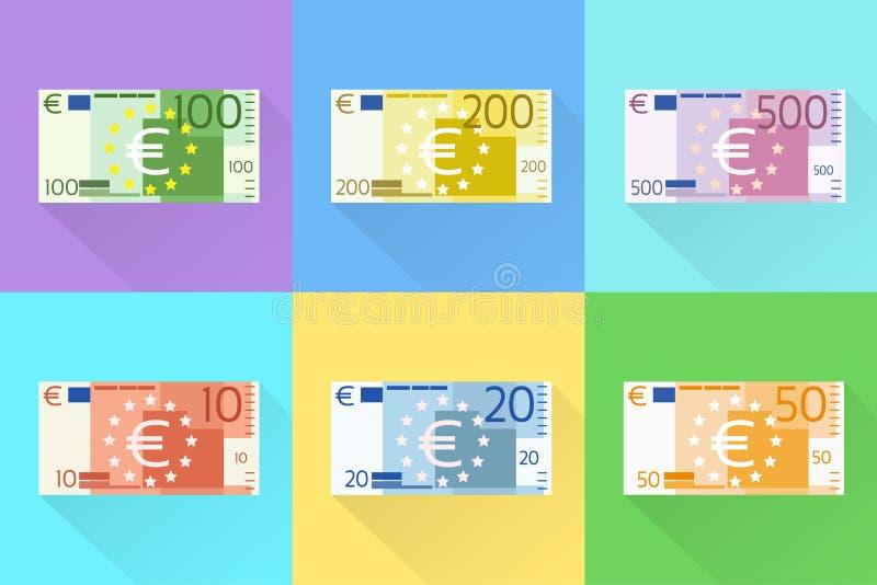 Design för lägenhet för eurosedeluppsättning med skuggavektorn vektor illustrationer