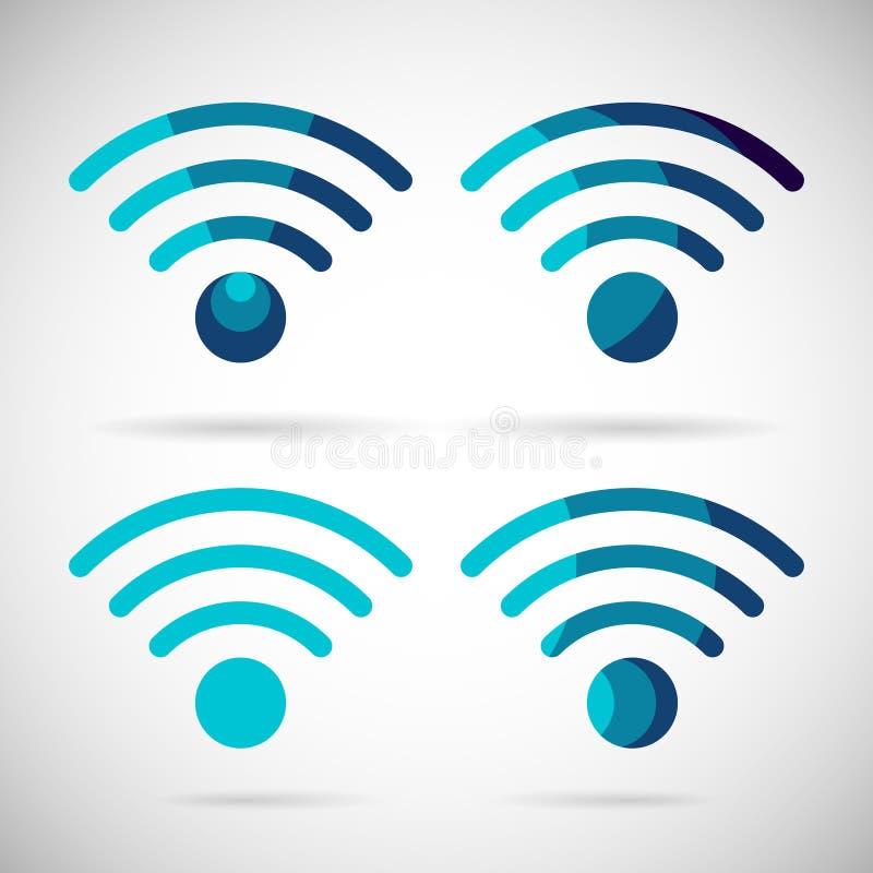 Design för lägenhet för internetuppkoppling för WiFi symbol trådlös stock illustrationer