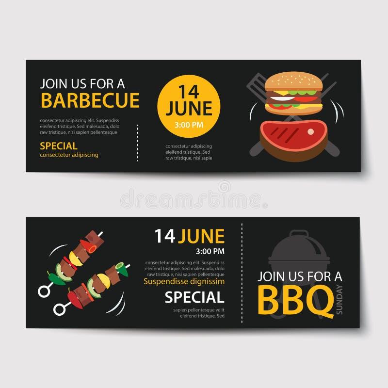 Design för lägenhet för mall för grillfestinbjudanparti royaltyfri illustrationer