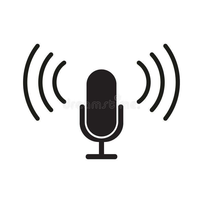 Design för lägenhet för mikrofonsymbolsvektor stock illustrationer