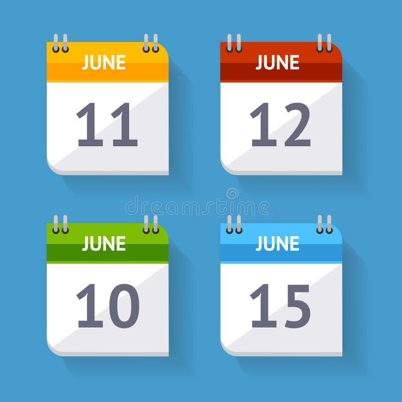 Design för lägenhet för uppsättning för vektorkalendersymbol stock illustrationer
