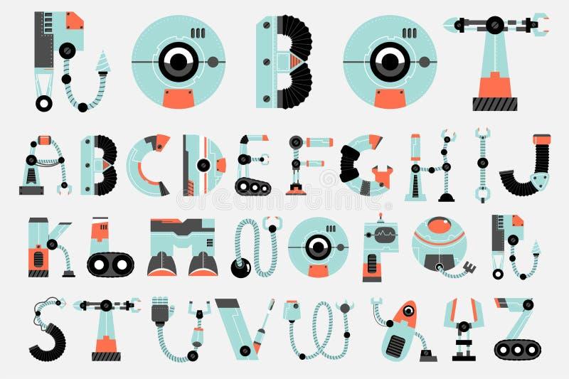 Design för lägenhet för robotstilsortssamling stock illustrationer