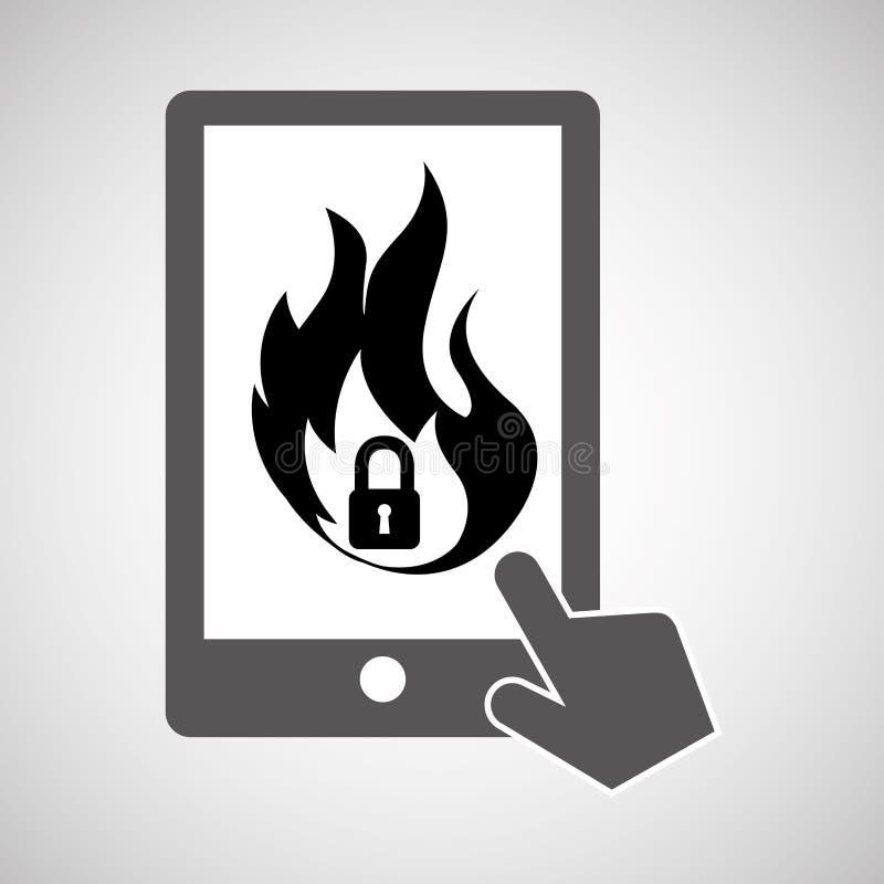 Design för lås för firewall för smartphone för dataskydd stock illustrationer