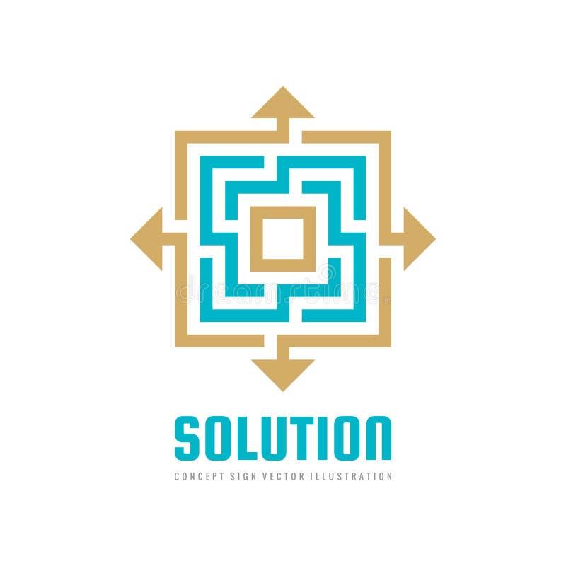 Design för lösningsbegreppslogo Geometriskt tecken för affärsstrategi royaltyfri illustrationer