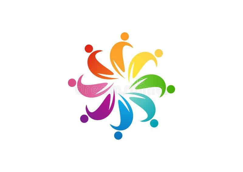 Design för lagarbetslogo, cirkelfolkabstrakt begrepp, modern affär, anslutning royaltyfri illustrationer