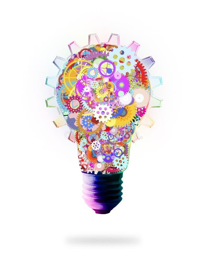 Design för ljus kula vid kuggar och kugghjul vektor illustrationer