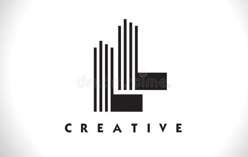 Design för LL Logo Letter With Black Lines Linje bokstavsvektor Illus stock illustrationer