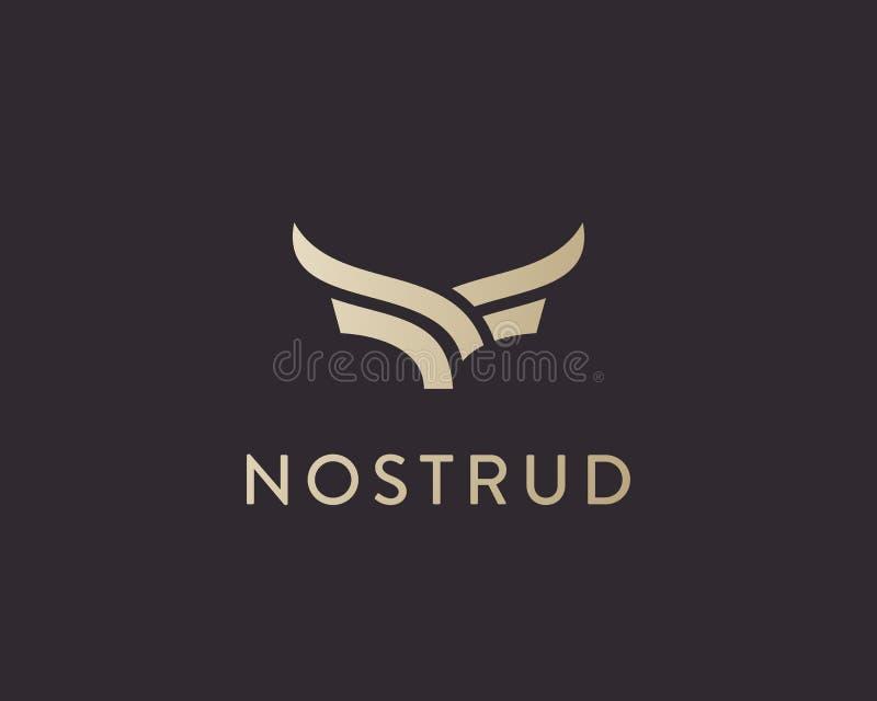Design för logo för abstrakt kobiff högvärdig Idérik linje symbolssymbol för tjurhorn Lyx påskyndar fågellogotypen royaltyfri illustrationer