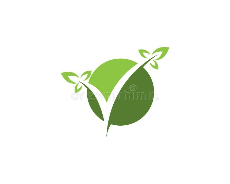 Design för logo för blad för naturkontrollfläck royaltyfri foto