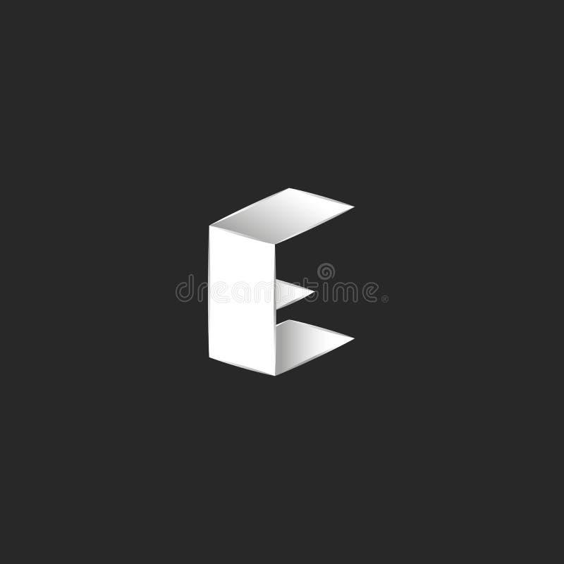 Design för logo för bokstav C 3D idérik modern, för hörnhipster för geometrisk isometrisk form vanligt emblem stock illustrationer