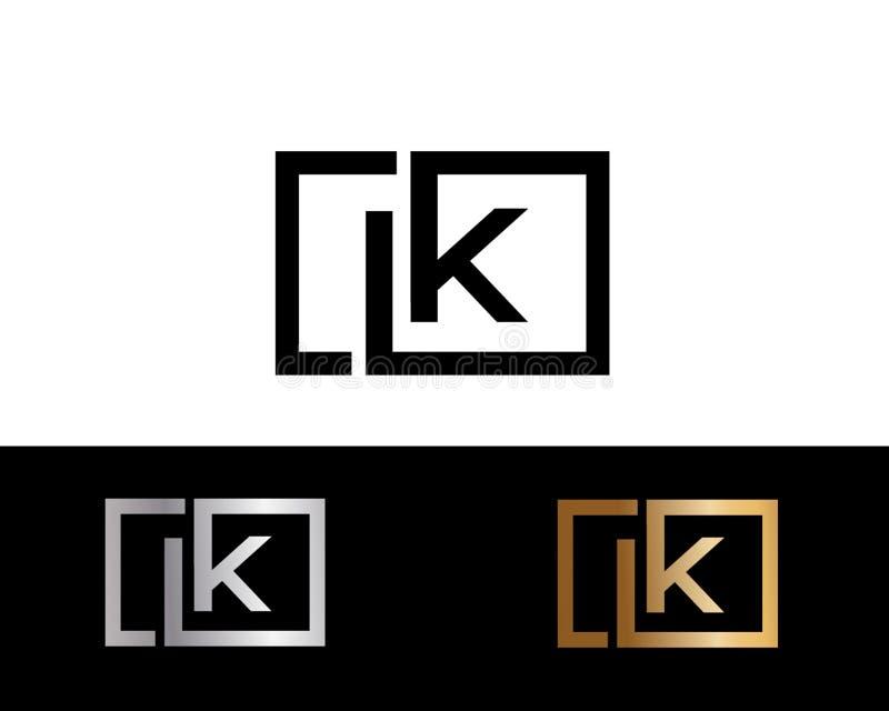 Design för logo för bokstav för LK-fyrkantform i guld- färg för silver stock illustrationer