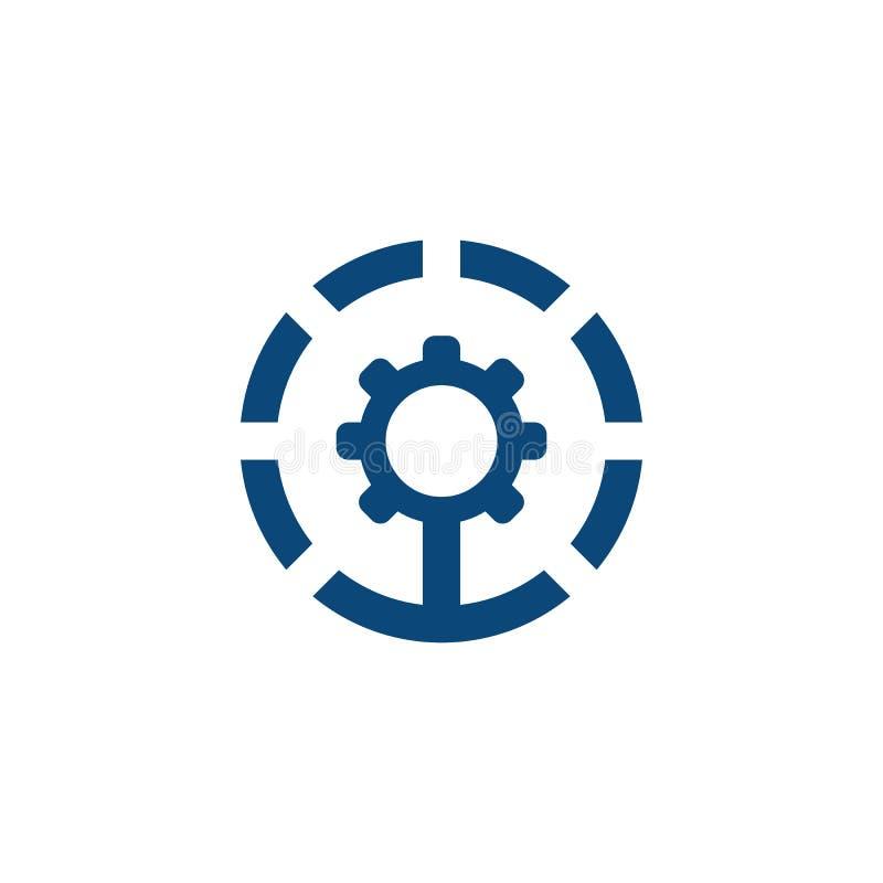 Design för logo för cirkelkugghjul industriell vektor illustrationer