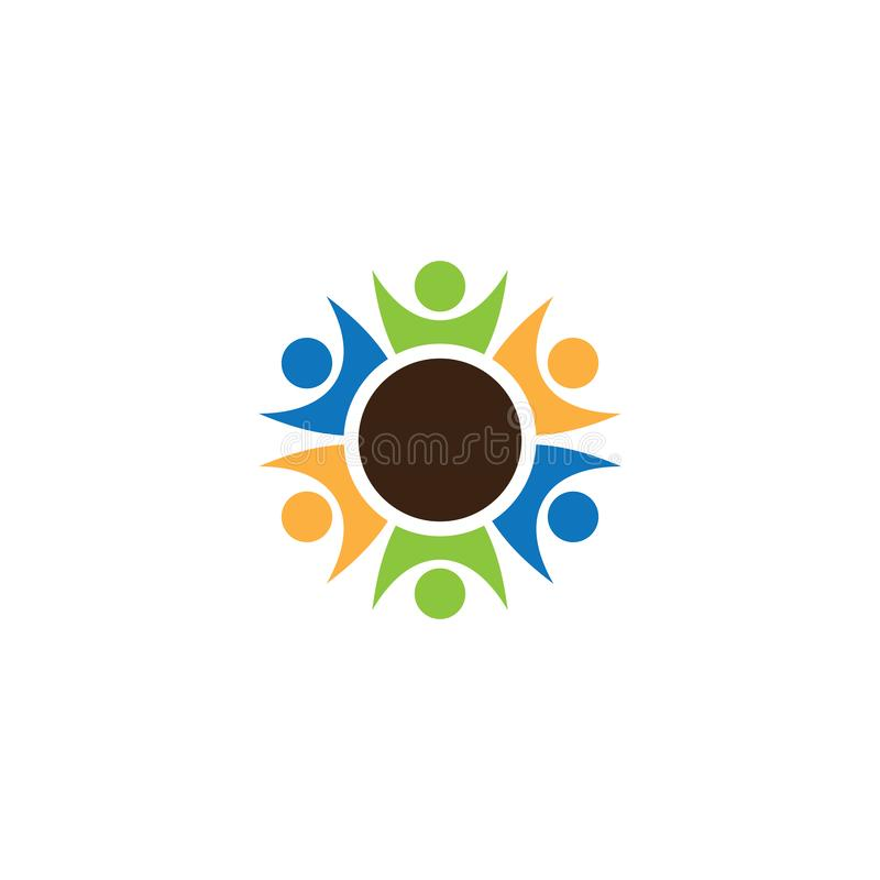 Design för logo för cirkelteamworkfolk stock illustrationer