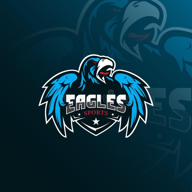 Design för logo för Eagle vektormaskot med modern illustrationbegreppsstil för emblem-, emblem- och tshirtutskrift Ilsken örn royaltyfri illustrationer