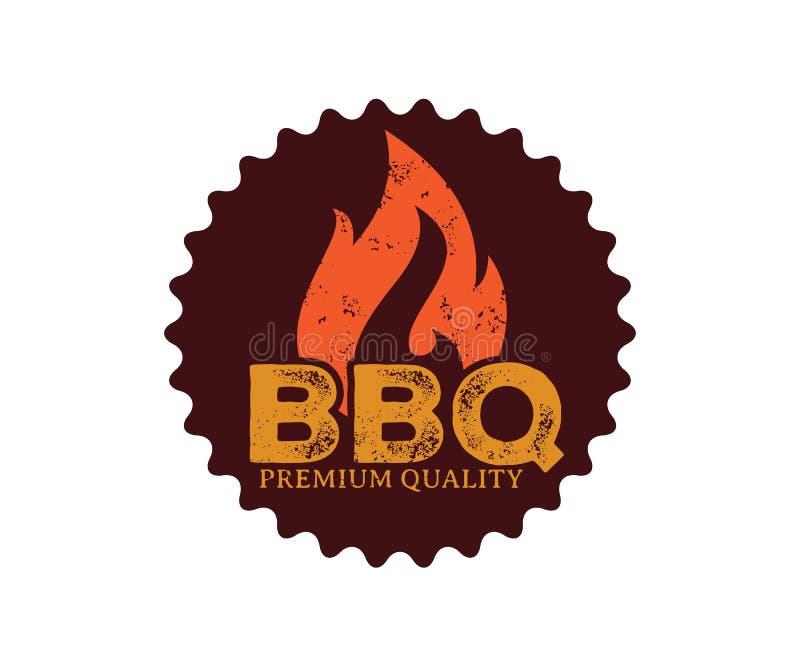 Design för logo för emblem för symbol för BBQ-grillfestvektor royaltyfri illustrationer