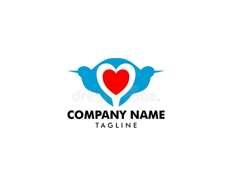 Design för logo för fågelhjärtaförälskelse royaltyfri illustrationer