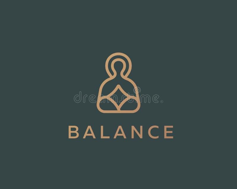 Design för logo för meditationyoga linjär Logotyp för Zenjämviktsvektor royaltyfri illustrationer