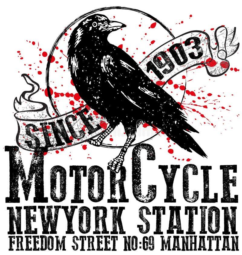 Design för logo för tappningmotorcykelklubba grafisk för skjorta för man t stock illustrationer