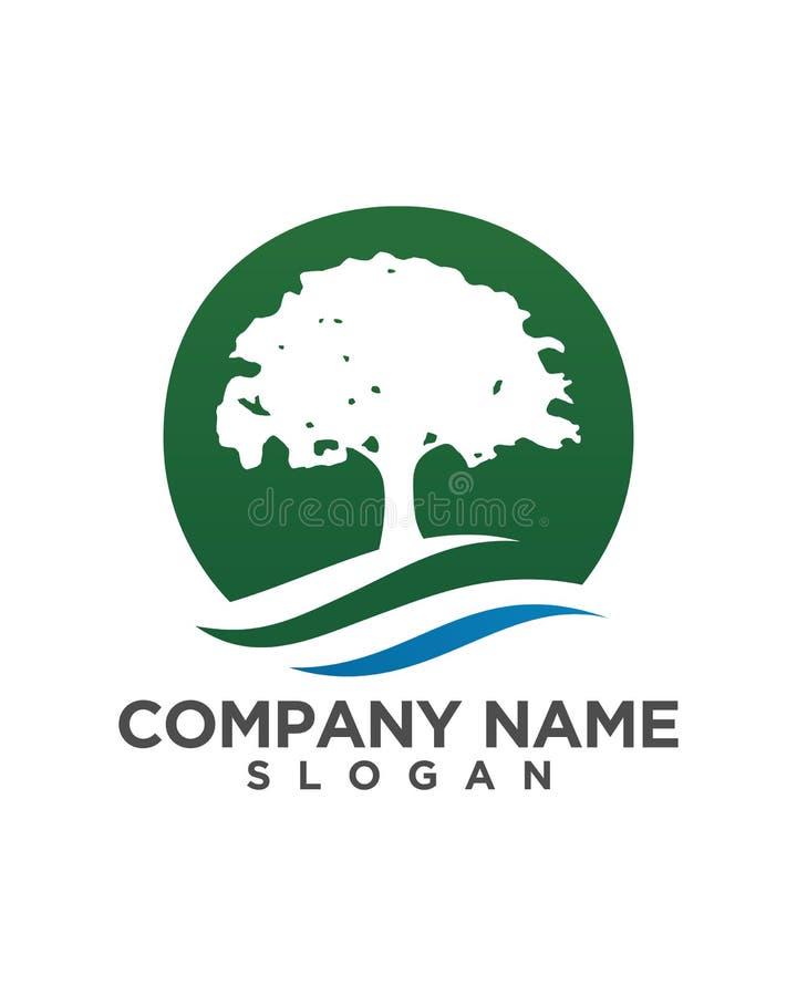 Design för logo för trädbladvektor, eco-vänskapsmatch begrepp stock illustrationer