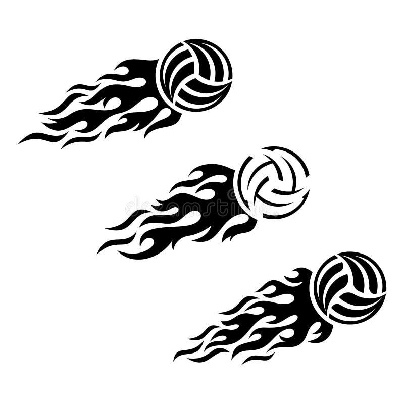 Design för logo för vektor för volleybollboll flammande vektor illustrationer