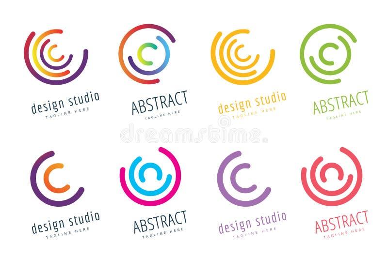 Design för logo för vektorcirkelcirkel Abstrakt flödessymbol royaltyfri illustrationer